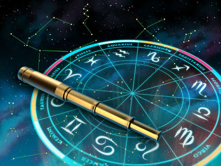 esoteric: Wheel of the zodiac and telescope over a sky background. Digital illustration. Stock Photo