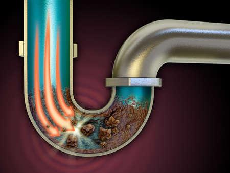 desague: agente químico usado para destapar algunas tuberías. Ilustración digital.