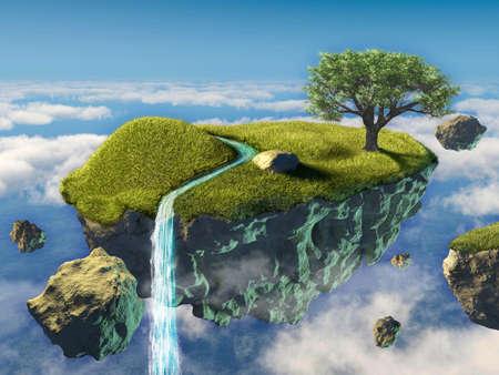 Pequena ilha que flutua no céu. Ilustração digital.