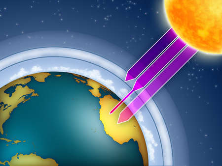 greenhouse and ecology: Atmospheric ozone filtering the sun ultraviolet rays. Digital illustration. Stock Photo