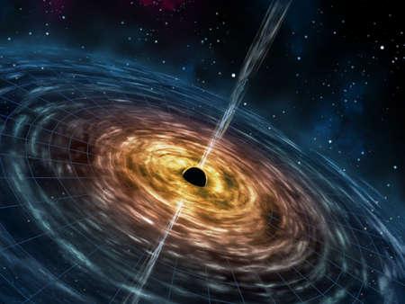 gravedad: Agujero negro que atrae la materia del espacio. Ilustración digital.