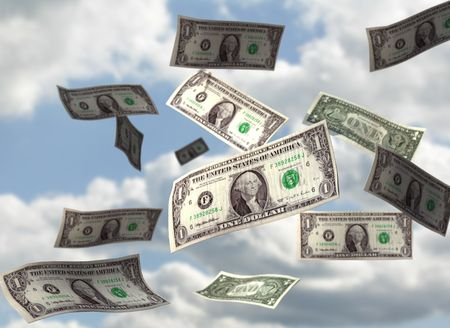 falling money: Dollar bills falling from the sky