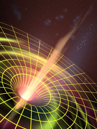 zwart gat: Een zwart gat trekt ruimte materie. Digitale illustratie
