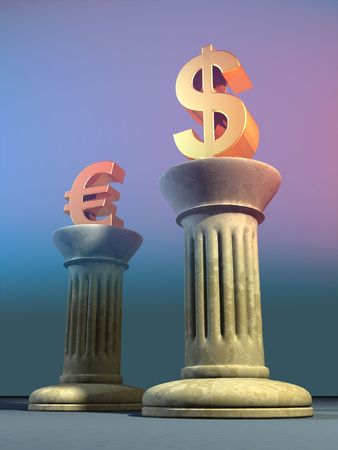 fluctuation: Dolalr and euro symbols on two columns. Digital illustration. Stock Photo