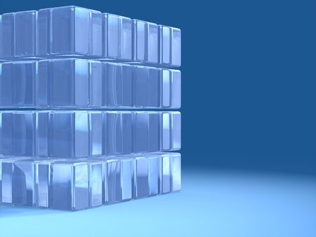 decode: A transparent glass cube over a blue background. Text space on the right. Digital illustration.