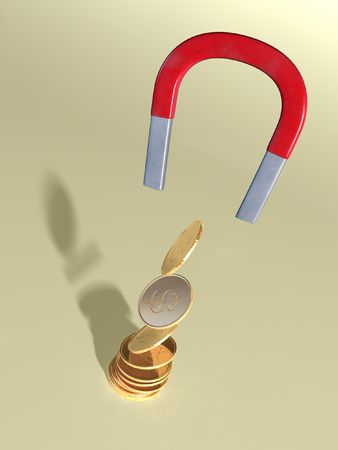 accumulate: Coins attracted by a magnet. CG illustration.