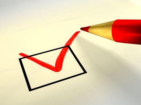 Crayon de couleur rouge en cochant la case appropri�e. Digital illustration.  Banque d'images