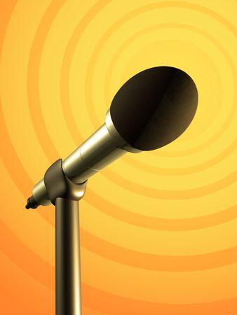 Microphone sur un fond jaune et orange. Illustration de Digital. Banque d'images