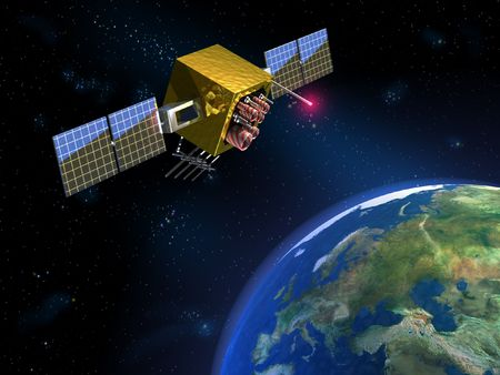 data transmission: Communication satellite and planet earth. CG illustration