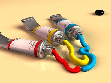 casein: Tres tubos abiertos de la pintura. Ilustraci�n del CG.