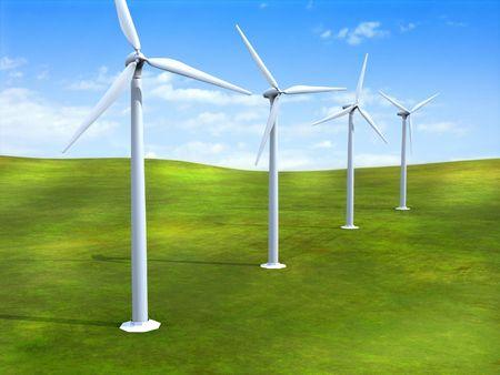 alternative energy sources: Alternative energy sources. Wind turbines in a grass field. Digital illustration.