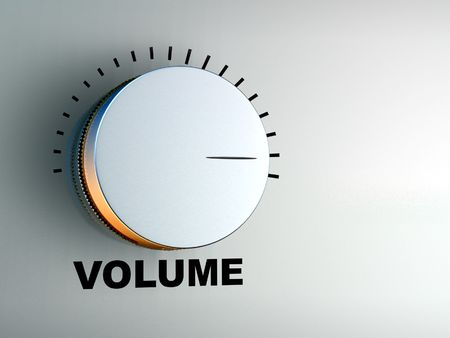 volume knob: Volume knob on an hi-fi audio amplifier. Digital illustration.