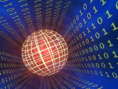 decode: Binary code stream, glowing wireframe sphere. CG illustration.