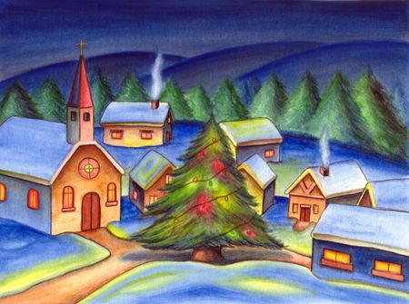 christmas religious: A christmas tree in a small village. Hand painted illustration.