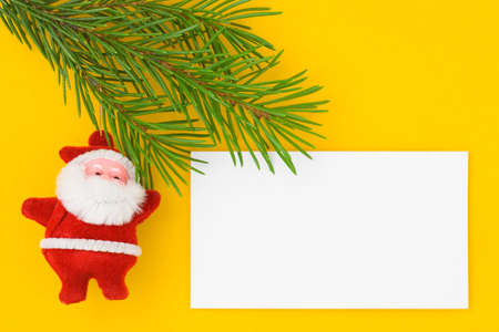 Christmas postcard with Santa Claus. Yellow background. 2 photo