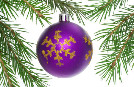 Christmas postcard with purple ball. White background. 8 photo