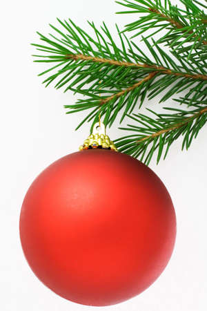9 ball: Christmas postcard with red ball. White background. 9