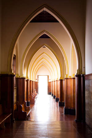 gravelly: Old catholic church at Bogota, Colombia. Arches, Light Stock Photo