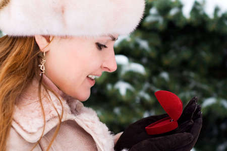 Gift on Valentines Day for beautiful woman. Winter. 1 photo