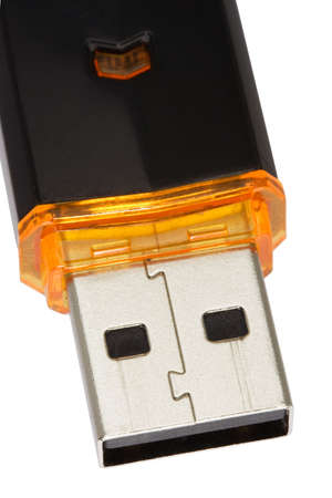 Flash drive for save your data. Macro. Isolated. With path photo