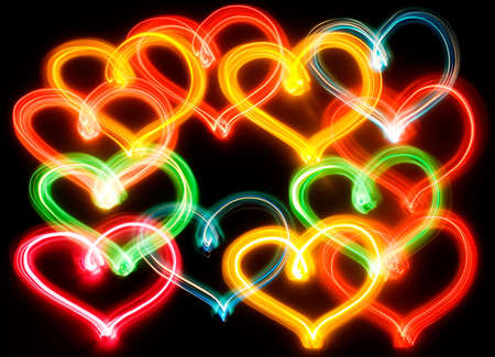 Heart shapes lights. Colorful. Isolated. Black background Stock Photo - 761961