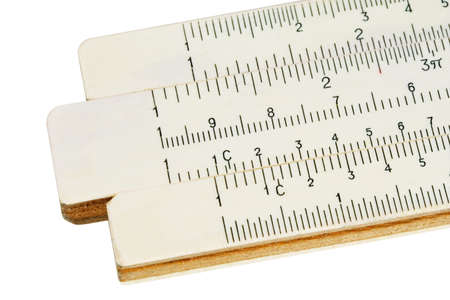 Old slide-rule for computing. Close-up. Isolated. With path photo