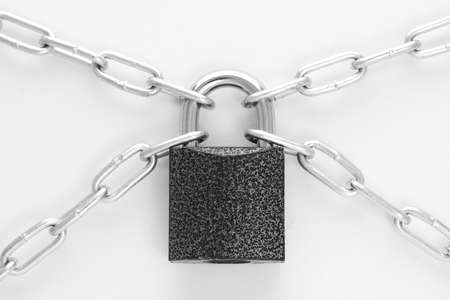 closed lock: Closed lock with chain. White background.