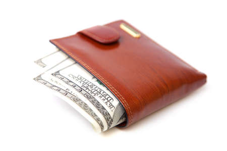 change purses: Leather wallet, focus on banknotes Stock Photo