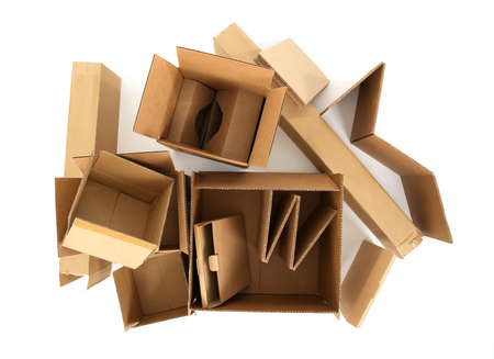 pile reuse: Open empty cardboard boxes, view from top. Stock Photo