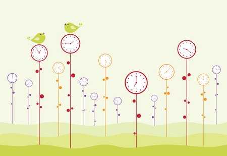 Clock garden. Birds are twitting, and time is passing. Vector