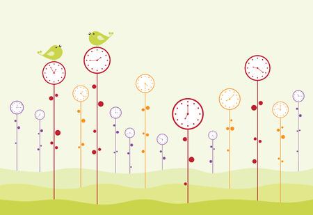 passing: Jard�n de reloj. Las aves son twitting y tiempo pasa.