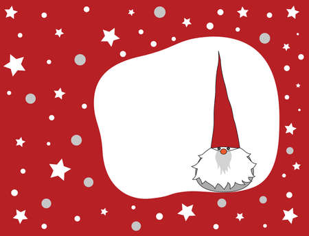 Cute winter gnome on a red Christmas background. Vector