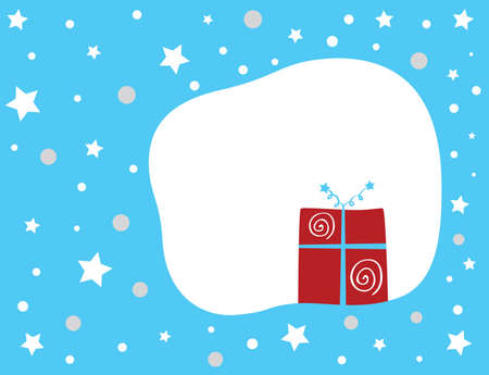 Christmas present on a blue star background. Vector