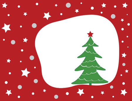 Christmas tree on a red star background. Vector