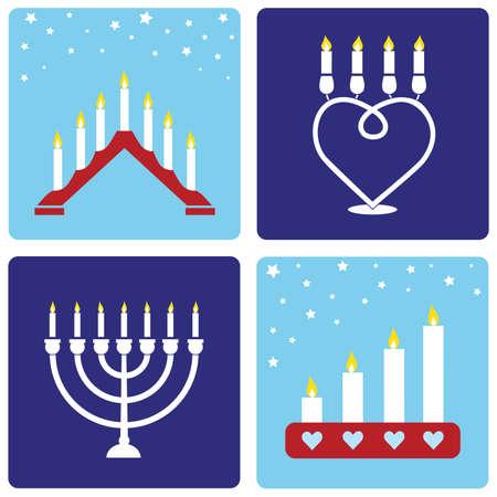 adventskranz: Vier traditionellen Weihnachten Candleholders auf blauem Hintergrund.