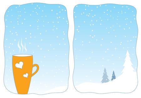 Cozy winter - cup of hot tea in a snowy window. Vector