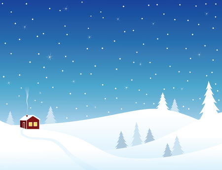 Little house in snowy hills, cozy winter scene. Vector