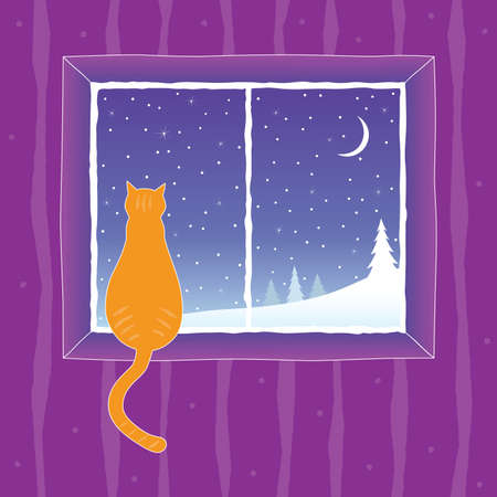 Cat looking into the window at winter landscape. Vector