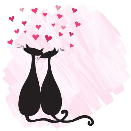 passionate: Two cats in love on watercolor background. Illustration