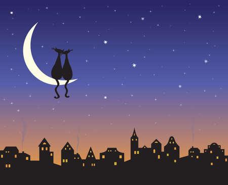 Dos gatos amorosas en una Luna sobre el horizonte de la ciudad de noche.