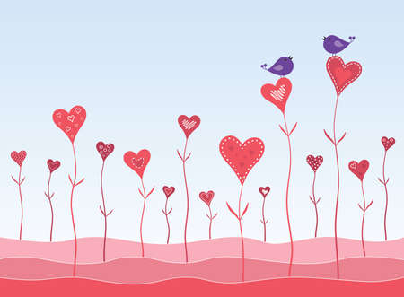 Birds in a hearts garden twitting about love. Vector