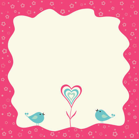 holidays for couples: Two birds and heart flower in a retro frame with copy space.
