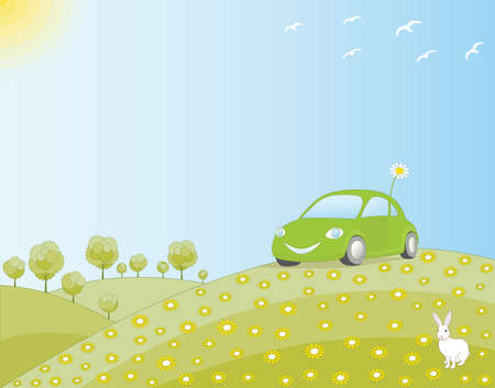 Eco-friendly car in a green field, in harmony with nature. Vector