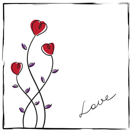 Hand-drawn love card with doodle flowers in a rough frame. Vector