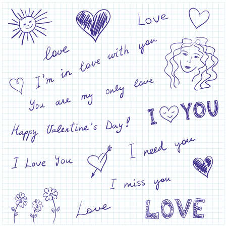 Hand-drawn doodles and love messages on graph paper. Vector