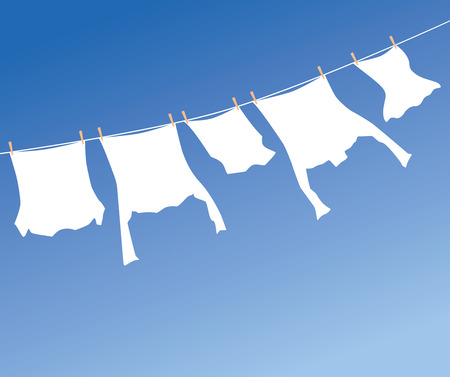 pegs: White laundry hanging to dry on a clothes-line. Illustration