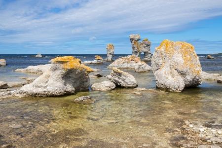 Limestone formations, locally known as  raukar , on F�r� island in Gotland, Sweden  photo