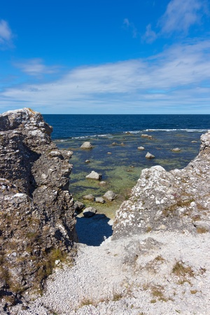 Cliffs on the island of F�r�, Gotland, Sweden  View over the Baltic Sea  photo