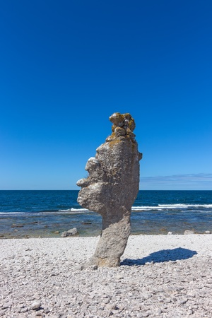 Rock formation  rauk  on F�r� island in Gotland, Sweden  Baltic Sea coastline  photo