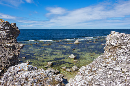 Rocky coastline of island  Gotland, Sweden   View over the Baltic Sea  photo